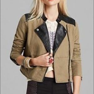 Free People Olive Green and Leather Moto Jacket